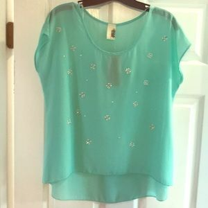 NWT Francesca's Mint Sheer & Flowy Shirt